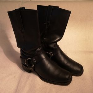 Frye Harness Boots Motorcycle Black Leather